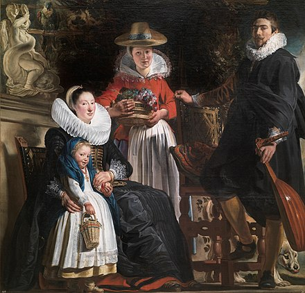 Jacob Jordaens. Self-Portrait with Wife and Daughter Elizabeth. 1621-22. Prado Museum, Madrid. The Family of the Artist by Jacob Jordaens.jpg