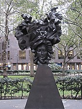 """""""The Flowering of the English Baroque"""", bronze memorial sculpture by Glynn Williams in a small park on Victoria St, Westminster. (Source: Wikimedia)"""