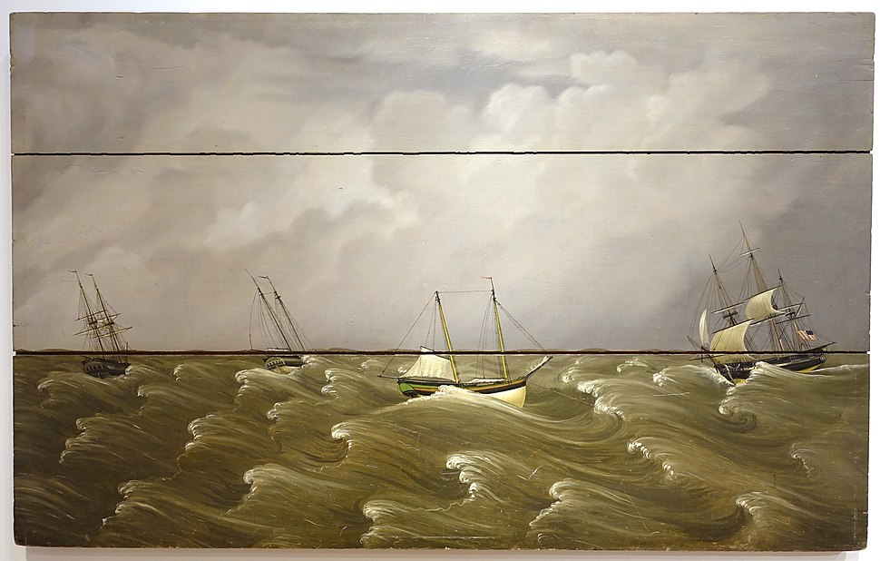 The Great Gale of 1846, by William Thompson Bartoll, c. 1850, oil on wood fireboard - Peabody Essex Museum - DSC07217
