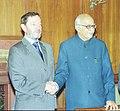 The Home Secretary of U.K. Mr. David Blanket calls on the Deputy Prime Minister Shri L.K Advani in New Delhi on January 30, 2003.jpg