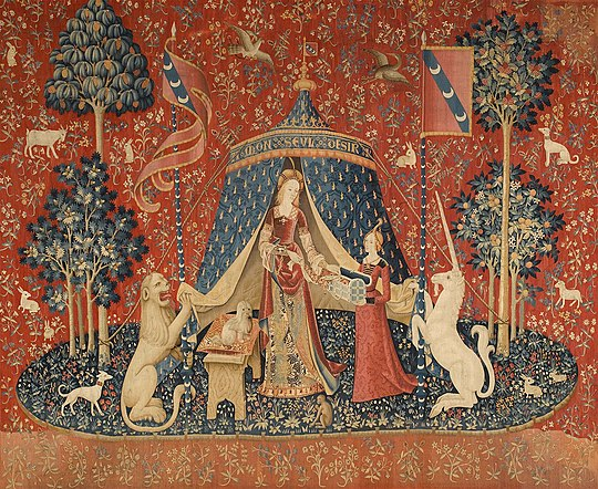 The Lady and the Unicorn: A mon seul desir (Musee national du Moyen Age, Paris). Probably Brussels, c. 1500. The Lady and the unicorn Desire.jpg