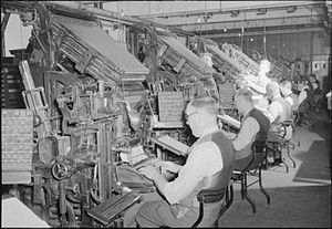 History of British newspapers - Linotype operators preparing hot-metal type 'slugs' to be assembled in columns and pages by hand compositors. This letterpress mode of newspaper production was supplanted in the 1970s and 1980s by the cleaner, more economical offset litho process.