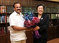 The Minister of Justice of the People's Republic of China, Mrs. Wu Aiying meeting the Union Minister for Law & Justice, Shri D.V. Sadananda Gowda, in New Delhi on April 08, 2015.jpg