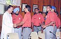The Minister of Youth Affair and Sports Shri Sunil Dutt meets the players of Indian Hokey team preparing for Athens Olympics in New Delhi on June 1, 2004.jpg