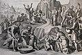 The Phillip Medhurst Picture Torah 410. Moses striking the rock. Exodus cap 17 v 16. Hadeler.jpg