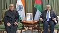 The President, Shri Pranab Mukherjee and the Prime Minister of Jordan, Dr. Abdullah Ensour in a restricted meeting, in Amman, Jordan on October 11, 2015.jpg