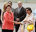 The President of Brazil , Ms. Dilma Rousseff being received by the Minister of State for External Affairs, Smt. Preneet Kaur, on her arrival, at the Palam Technical Airport, in New Delhi on March 27, 2012.jpg