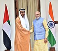 The Prime Minister, Shri Narendra Modi with the Crown Prince of Abu Dhabi, Deputy Supreme Commander of U.A.E. Armed Forces, General Sheikh Mohammed Bin Zayed Al Nahyan, at Hyderabad House, in New Delhi on January 25, 2017 (5).jpg