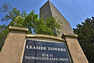 Thorncliffe Park - Leaside Towers is the tallest residential apartment building in East York and a prominent landmark of Thorncliffe Park