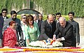The Romanian President, Mr. Traian Basescu laying wreath at the Samadhi of Mahatma Gandhi at Rajghat in Delhi on October 23, 2006.jpg