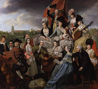 Granville Sharp - The Sharp Family, by Johann Zoffany, 1779–81, National Portrait Gallery, London. The family musical ensemble are pictured on their barge, Apollo, with All Saints Church, Fulham in the background.  Granville Sharp is the male figure in the centre.