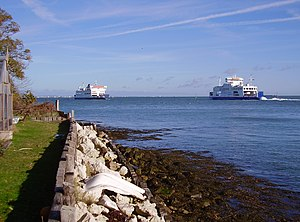 Solent - The Solent from Wootton, Isle of Wight, showing Wightlink Fishbourne–Portsmouth ferries crossing.