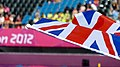 The Union Jack infront of the crowd (9378332288).jpg
