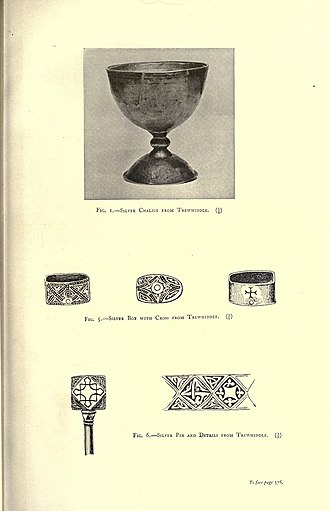Trewhiddle - The silver chalice and other items