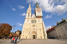 The Zagreb Cathedral being restored, the spires are 108m. high (13023470563).jpg