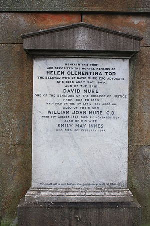 David Mure, Lord Mure - The grave of David Mure, Dean Cemetery