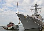 The guided missile destroyer USS Ramage (DDG 61) pulls away from the pier at Naval Station Norfolk, Va., Aug. 7, 2013 130807-N-WJ261-035.jpg