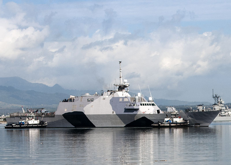 File:The littoral combat ship USS Freedom (LCS 1) arrives at Joint Base Pearl Harbor-Hickam, Hawaii for a scheduled port visit during a deployment to the Asia Pacific region, March 11, 2013 130311-N-QG393-054.jpg