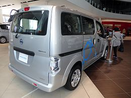The rearview of Nissan e-NV200 VAN GX (ZAB-VME0) at Nissan Global Headquarters Gallery.JPG