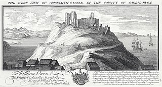 The west view of Crickiaith Criccieth Castle, in the county Of Caernarvon