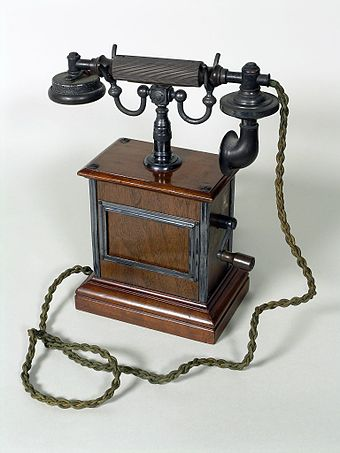 An early, wooden, Ericsson telephone, made by the Ericsson Telephone Co. Ltd., of Nottingham, England, it is now in the collection of Thinktank, Birmingham Science Museum. Thinktank Birmingham - object 1961S01536.00001(1).jpg