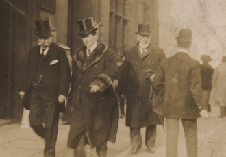 Alfred Lewis Jones - Jones (left) with Guglielmo Marconi (in fur coat) and T. H. Barker (Secretary of the Liverpool Chamber of Commerce).