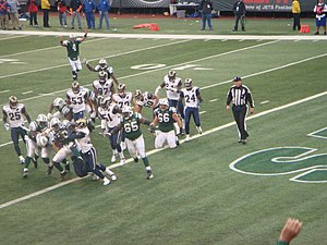 2008 NFL season - Thomas Jones scores a touchdown for the New York Jets against the St. Louis Rams in week 10 of the season
