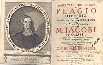 Jakob Thomasius - Dissertation about plagiarism at Leipzig University (1679) with Thomasius as praeses