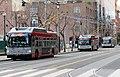 Three Muni trolleybuses on Steuart Street, March 2019.JPG