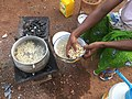 Throwing black eyed peas in boiling water.jpg