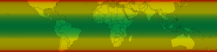 Map showing the probability of re-entry of Tiangong 1 by latitude. Latitudes shaded red were most likely; latitudes shaded green were least likely. Areas outside possible re-entry latitudes are not pictured. Tiangong-1 Reentry Map.png