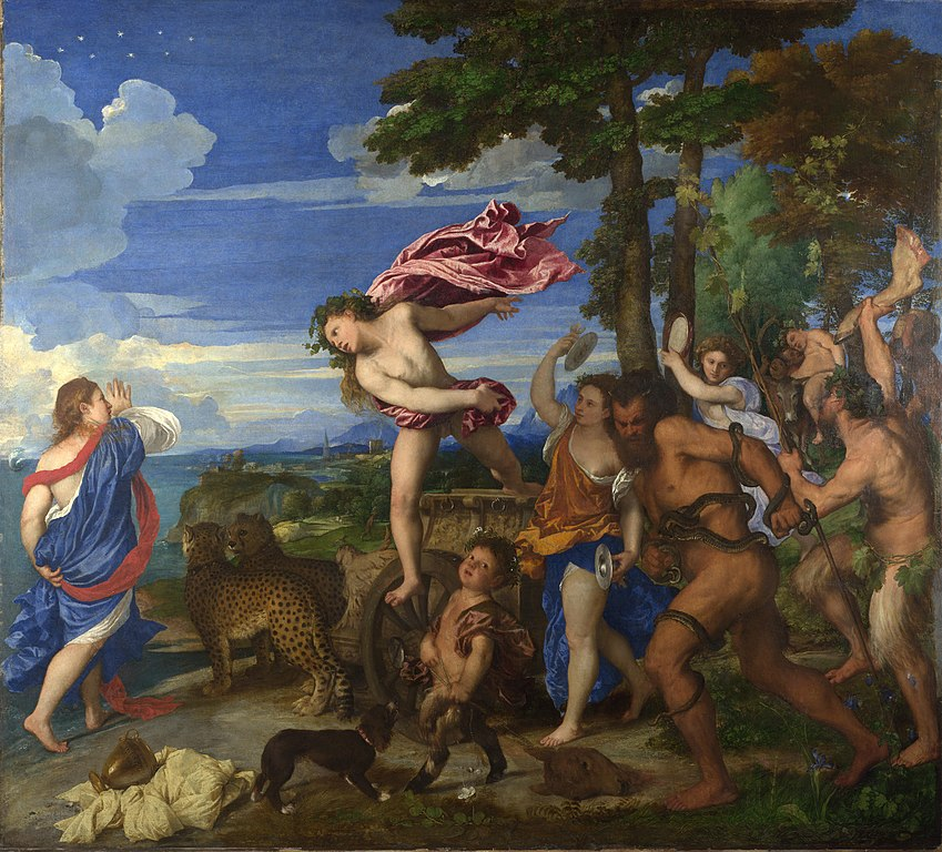 Bacchus et Ariane, peinture de l'artiste vénitien Titien au musée National Gallery de Londres.