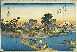Kawasaki-juku - Kawasaki-juku in the 1830s, as depicted by Hiroshige in the Hōeidō edition of The Fifty-three Stations of the Tōkaidō (1831–1834)