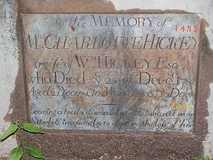 William Hickey (memoirist) - Image: Tombstone Charlotte Hickey, + Dec.15th, 1783
