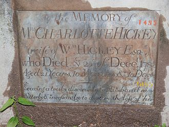 William Hickey (memoirist) - Image: Tombstone Charlotte Hickey, + Dec.15th, 1783
