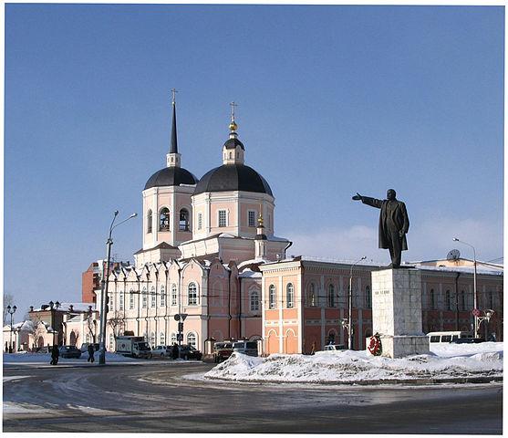 Площадь Ленина и Богоявленский собор в Томске