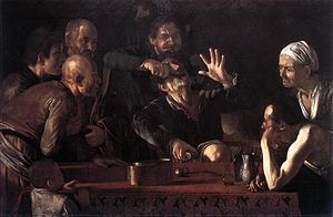 Paintings attributed to Caravaggio - The Toothpuller. c. 1607/1608. Pitti Palace, Florence