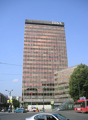 The headquarters of Banco Bilbao Vizcaya Argen...