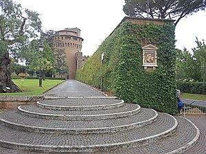 Leonine City - Leonine wall and the tower of Saint John inside the Vatican Gardens