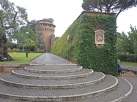 Leonine wall and the tower of Saint John inside the Vatican Gardens Torre Giovanni Giardini Vaticani 20110705.jpg