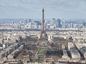 Outline of France - The Eiffel Tower, with the skyline of Paris in the background