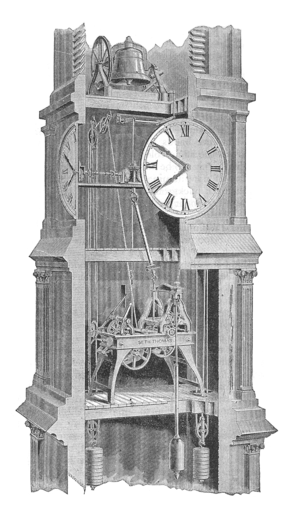 Turret clock - Modern tower clock movement