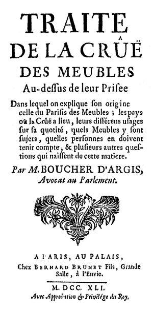Antoine-Gaspard Boucher d'Argis - Frontispice du Traité de la crûë, 1741