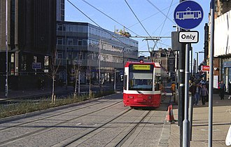 Tramlink - Tram on trial in George Street, Croydon in October 1999. The cars were painted in London Transport red and white livery.