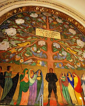 San Pedro y San Pablo College, Mexico City - Mural titled The Tree of Life by Roberto Montenegro (1920s).