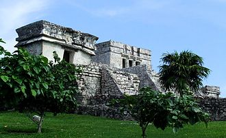 Tourism in Mexico - Tulum, ancient Maya ruins near the beach resort of Cancun.