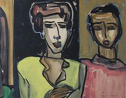 Pintura de dos travestis