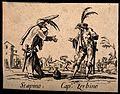 Two Commedia dell'arte street entertainers performing togeth Wellcome V0011654.jpg