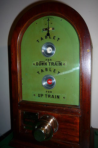 Tyer's Electric Train Tablet - The indicators showing a tablet has been issued for an Up train from this instrument