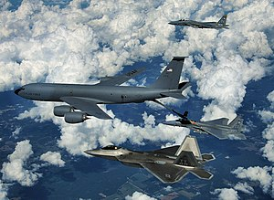 Tyndall Air Force Base - An F-22 Raptor and two F-15 Eagles from Tyndall Air Force Base participate in a refueling mission with a KC-135 Stratotanker from the Mississippi Air National Guard over eastern Florida, 22 September 2008.
